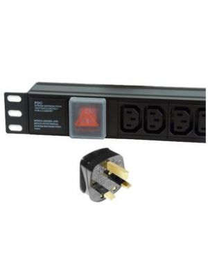 8 Way Horizontal IEC13 10A Switched PDU > UK Plug with surge protection