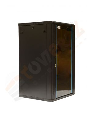 TOWEREZ ® FLAT PACK - 18U  Wall Mounted Server Cabinet 600 (W) x 450 (D) x 1000 (H)  Glass Front Door